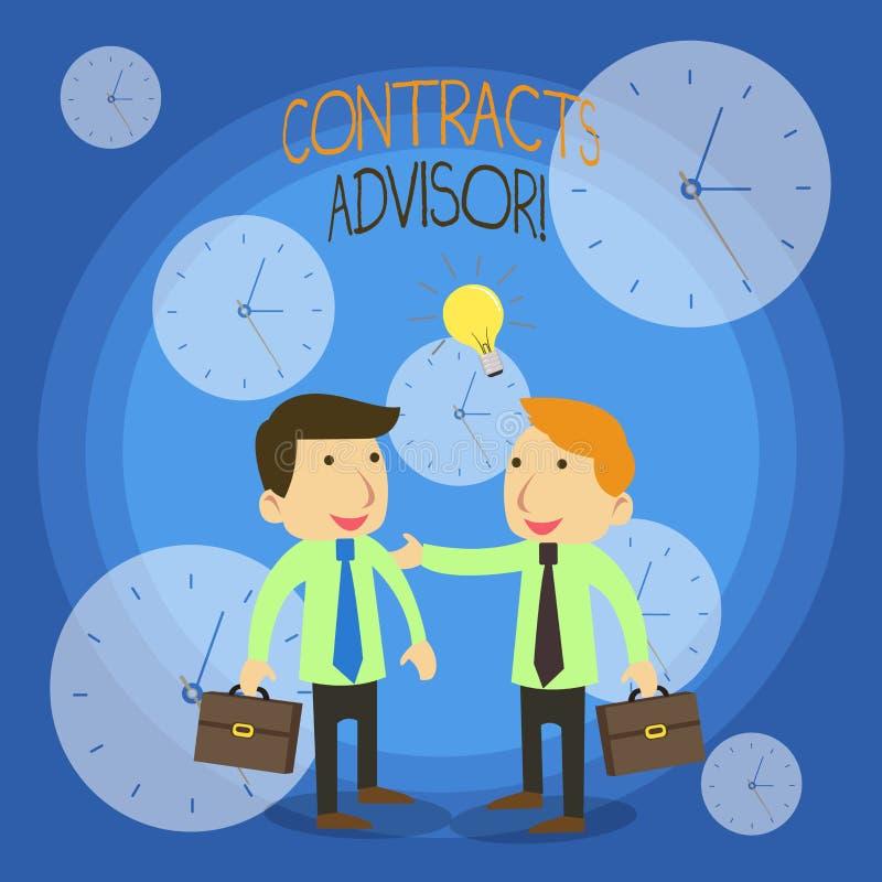 Konceptualna ręka pisze pokazywać kontrakta Advisor Biznesowy fotografia tekst zapewnia egzekwowanie definiujący stręczycielstwo ilustracja wektor