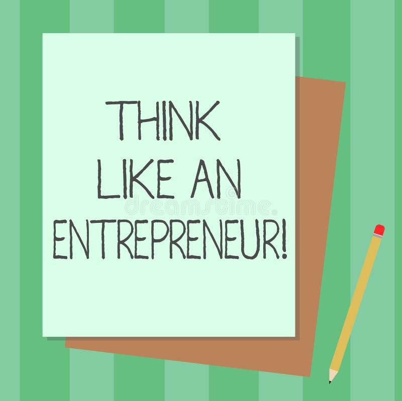Konceptualna ręka pisze pokazywać myśl Jak przedsiębiorca Biznesowy fotografia tekst przedsiębiorczość umysł Zaczynać w górę stra royalty ilustracja