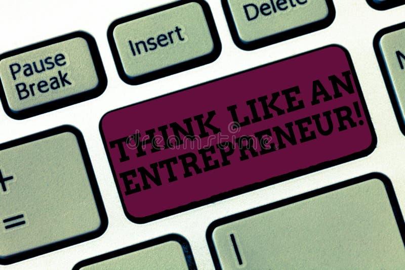 Konceptualna ręka pisze pokazywać myśl Jak przedsiębiorca Biznesowy fotografia tekst przedsiębiorczość umysł Zaczynać w górę ilustracji