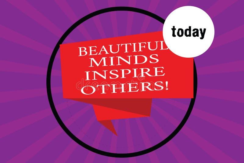Konceptualna ręka pisze pokazywać Pięknych umysły Inspiruje Inny Biznesowego fotografia teksta Pozytywny seans daje inspiracji ilustracji