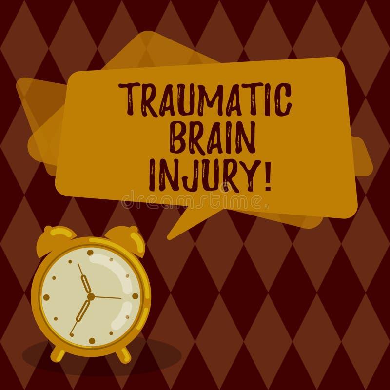 Konceptualna ręka pisze pokazywać Pourazowego uszkodzenie mózgu Biznesowa fotografia pokazuje obrazę mózg od zewnętrznie ilustracja wektor