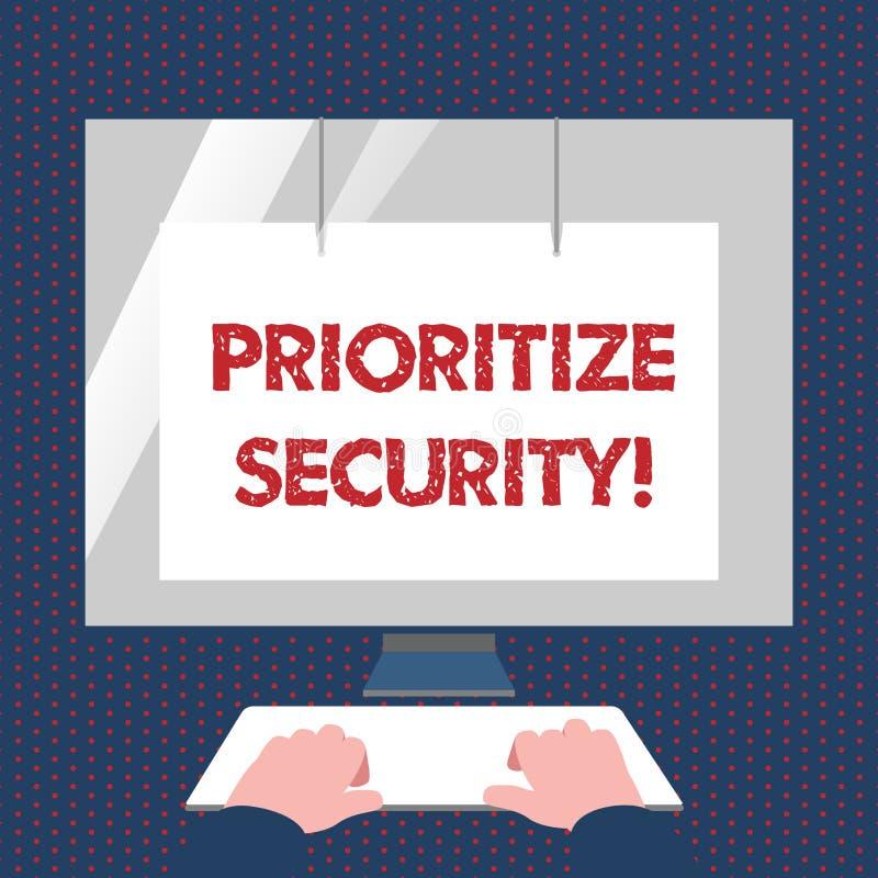 Konceptualna ręka pisze pokazywać Priorytetyzuje ochronę Biznesowy fotografia tekst wyznacza ochrony ryzyko znacząco jak ilustracja wektor