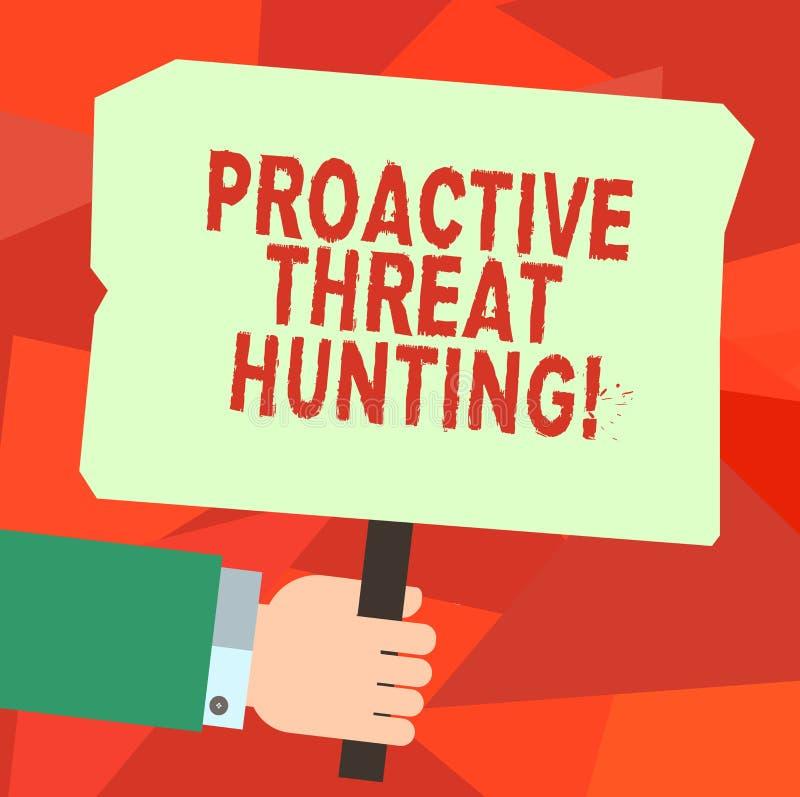 Konceptualna ręka pisze pokazywać Proaktywnie zagrożenia polowanie Biznesowy fotografia tekst skupiał się i iteratywny podejście royalty ilustracja