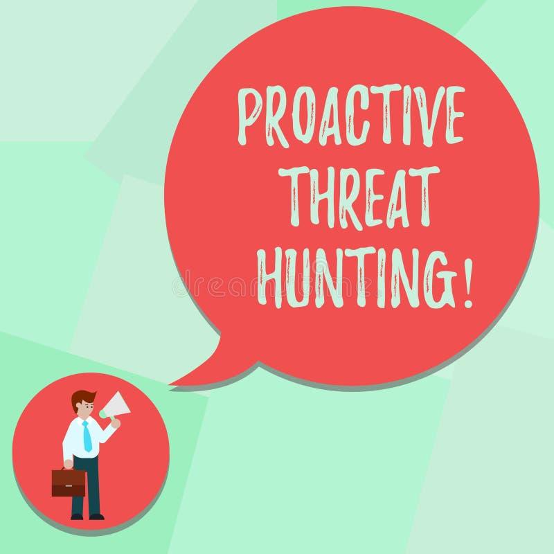 Konceptualna ręka pisze pokazywać Proaktywnie zagrożenia polowanie Biznesowy fotografia tekst skupiał się i iteratywny podejście ilustracji
