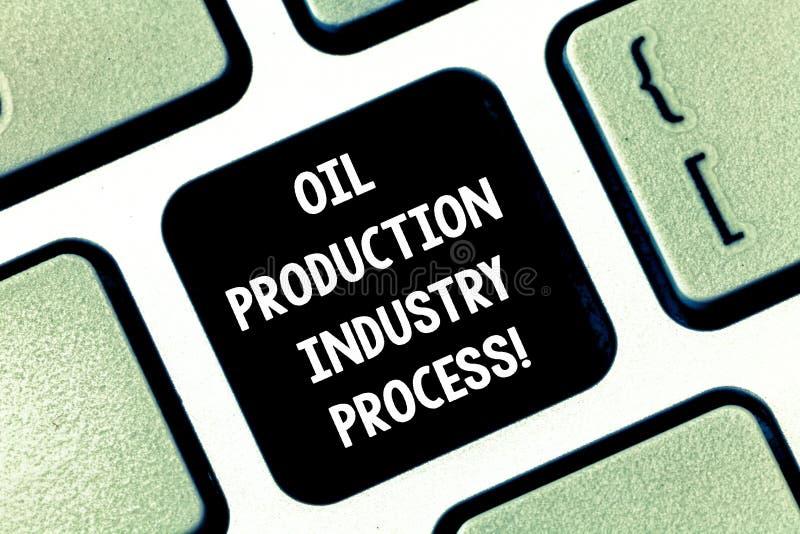 Konceptualna ręka pisze pokazywać produkcja ropy naftowej przemysłu proces Biznesowego fotografia teksta Ponaftowa firma przemysł zdjęcia stock