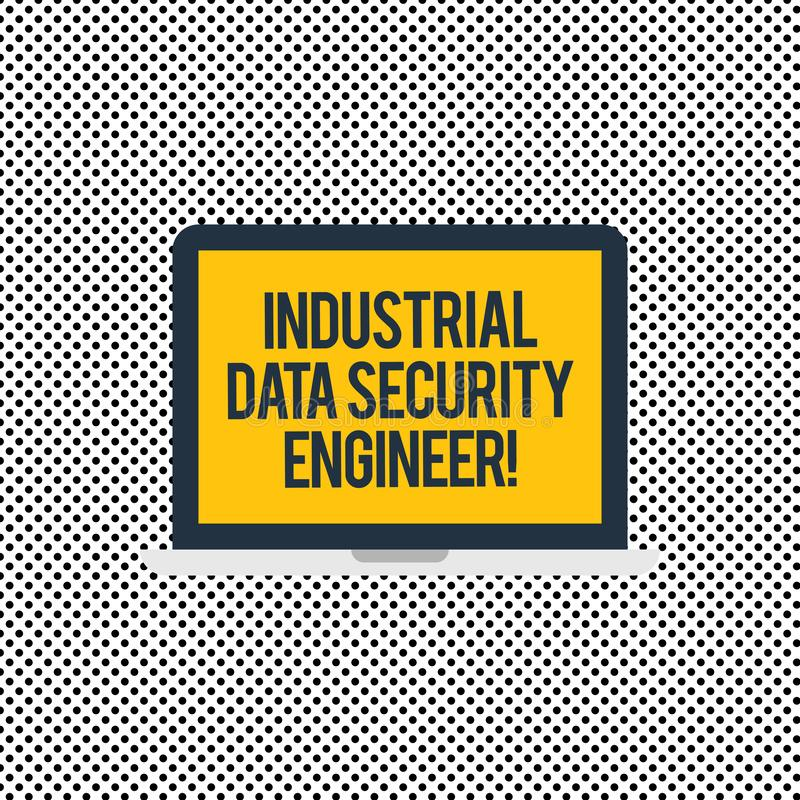 Konceptualna ręka pisze pokazywać Przemysłowego bezpieczeństwo danych inżyniera Biznesowy fotografia teksta technologii sieci sys royalty ilustracja