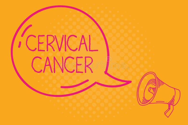 Konceptualna ręka pisze pokazywać raka szyjkiego macicego Biznesowy fotografia tekst zdarza się gdy komórki cervix r abnormally ilustracja wektor