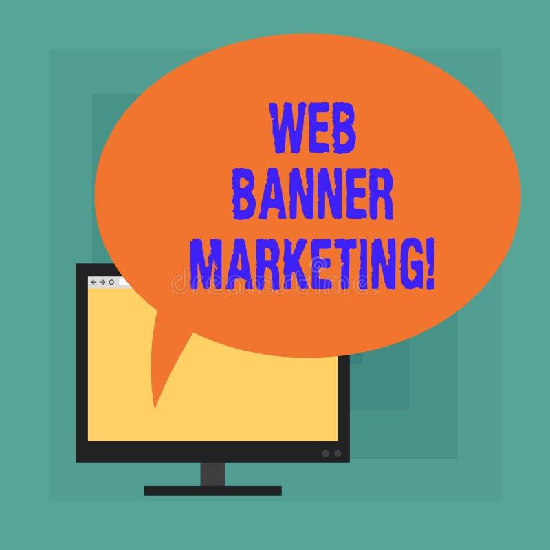 Konceptualna ręka pisze pokazywać sieć sztandaru marketing Biznesowy fotografia tekst powoduje osadzać reklamę w sieci ilustracja wektor