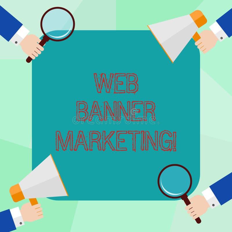 Konceptualna ręka pisze pokazywać sieć sztandaru marketing Biznesowy fotografii pokazywać powoduje osadzać reklamę w a royalty ilustracja