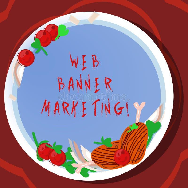 Konceptualna ręka pisze pokazywać sieć sztandaru marketing Biznesowy fotografii pokazywać powoduje osadzać reklamę w a ilustracja wektor