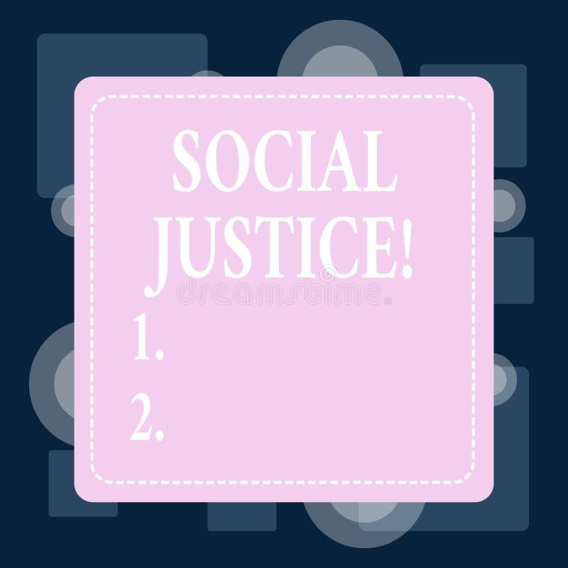 Konceptualna ręka pisze pokazywać sprawiedliwość społeczną Biznesowy fotografia teksta taki sam dostęp bogactwo i przywileje wśró ilustracja wektor