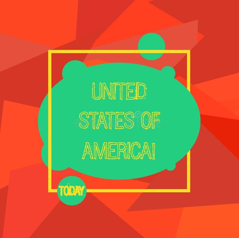 Konceptualna ręka pisze pokazywać Stany Zjednoczone Ameryka Biznesowa fotografia pokazuje kraju w północny Kapitałowy washington  ilustracja wektor