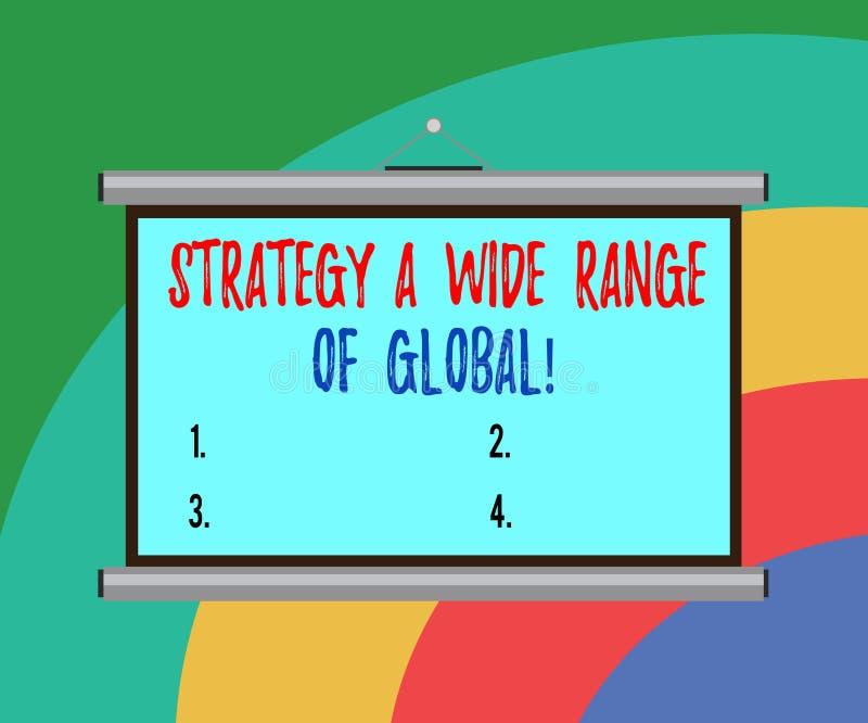 Konceptualna ręka pisze pokazywać strategii szerokiego zakres Globalny Biznesowe fotografia teksta Na całym świecie teletechniczn royalty ilustracja