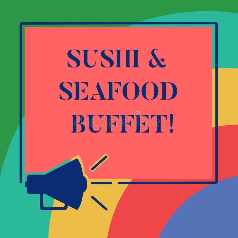 Konceptualna ręka pisze pokazywać suszi I owoce morza bufet Biznesowa fotografia pokazuje Japońskich karmowych rybich naczynia do ilustracji