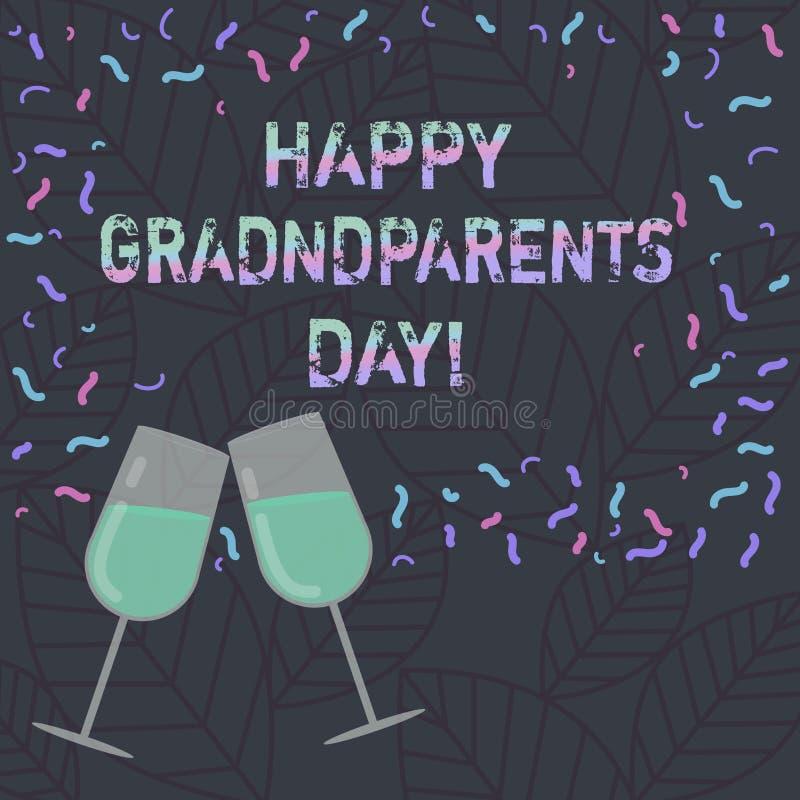 Konceptualna ręka pisze pokazywać Szczęśliwym dziadkom dzień Biznesowy fotografia teksta święto narodowe świętować dziadków i hon ilustracja wektor