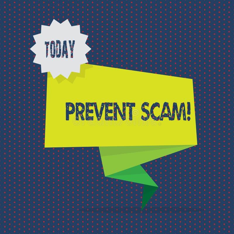 Konceptualna ręka pisze pokazywać Zapobiega Scam Biznesowa fotografia pokazuje ochrona konsumentów oszukańcze transakcje Dwa ilustracji