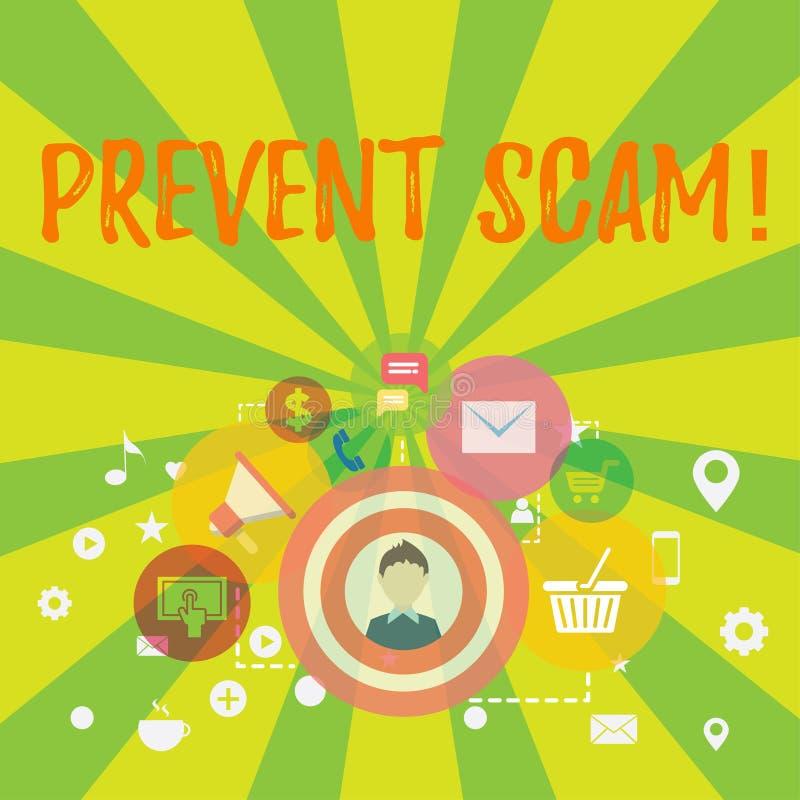 Konceptualna ręka pisze pokazywać Zapobiega Scam Biznesowego fotografia teksta ochrona konsumentów transakcji oszukańcza fotograf royalty ilustracja