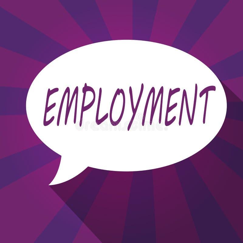 Konceptualna ręka pisze pokazywać zatrudnienie Biznesowa fotografia pokazuje stan płacić pracy zajęcia spożytkowanie ilustracji