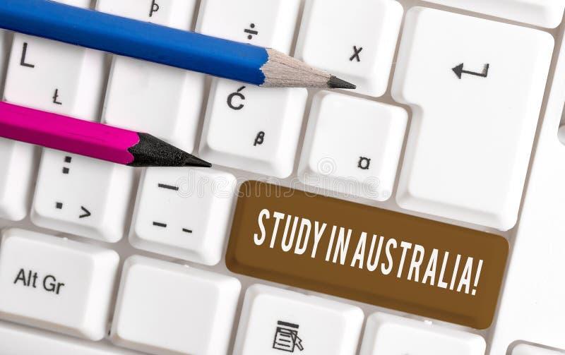 Konceptualna r?ki writing seansu nauka W Australia E obraz stock