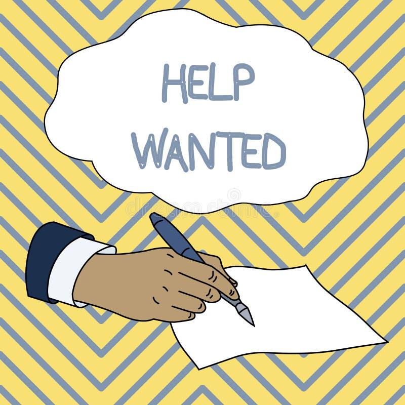 Konceptualna r?ki writing seansu pomoc Chcie? Biznesowa fotografia pokazuje reklamę w papierze pracodawca umieszcza znajdować a ilustracji