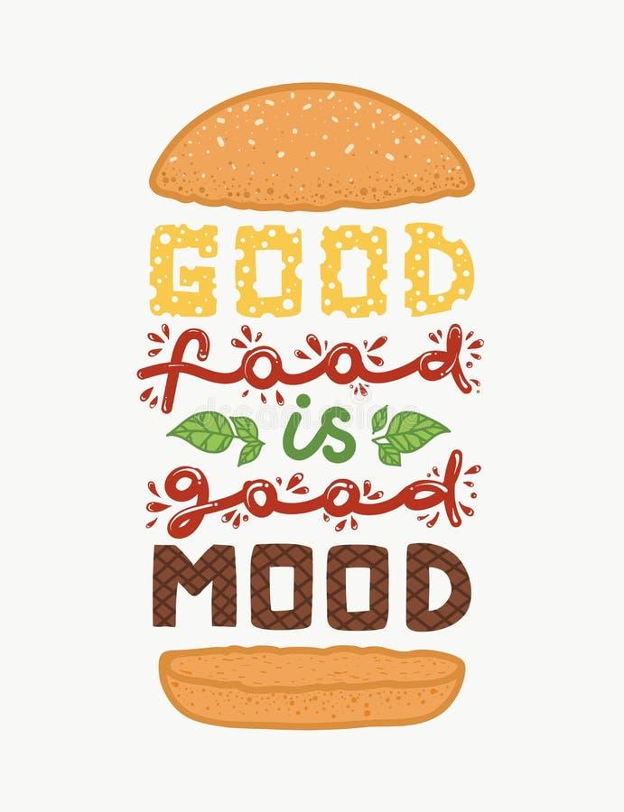 Konceptualna sztuka hamburger Wycena ` dobry jedzenie jest dobrym trybowym ` Wektorowa ilustracja literowanie zwrot Kaligrafia pl royalty ilustracja