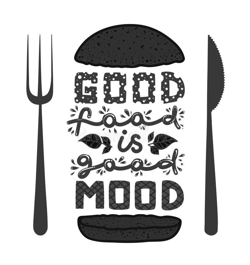 Konceptualna sztuka hamburger Wycena ` dobry jedzenie jest dobrym trybowym ` Wektorowa ilustracja literowanie zwrot Kaligrafia pl ilustracja wektor