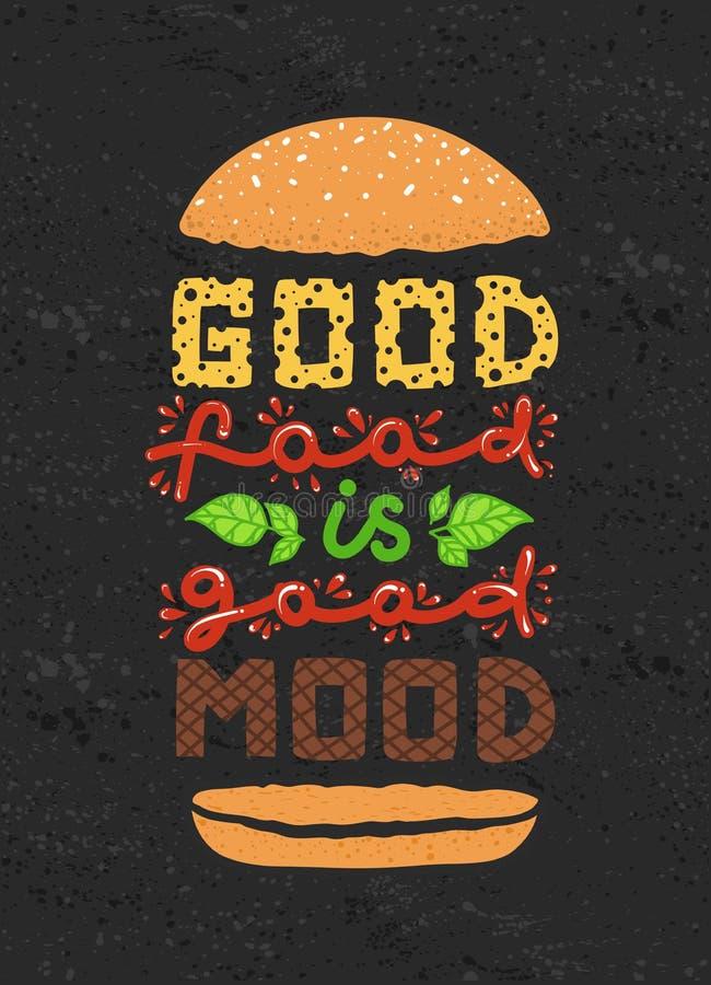 Konceptualna sztuka hamburger Wycena ` dobry jedzenie jest dobrym trybowym ` Wektorowa ilustracja literowanie zwrot Kaligrafia pl ilustracji
