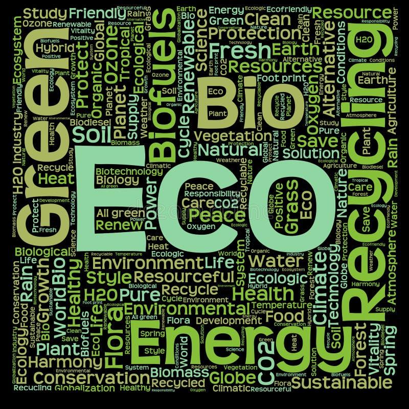 Konceptualna zielona eco lub ekologii słowa chmura royalty ilustracja