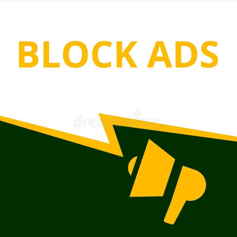 Konceptualne pisze pokazuje Blokowe reklamy ilustracji