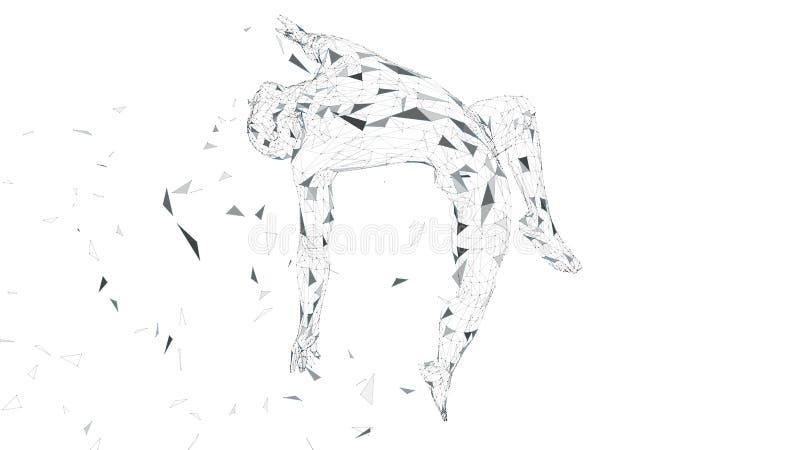 Konceptualny abstrakcjonistyczny mężczyzna jest strzelisty w powietrzu Związane linie, kropki, trójboki, cząsteczki odizolowywać  ilustracji