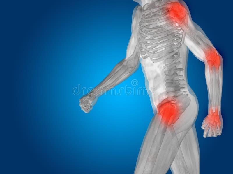 Konceptualny ciało ludzkie anatomii ból na błękicie ilustracja wektor