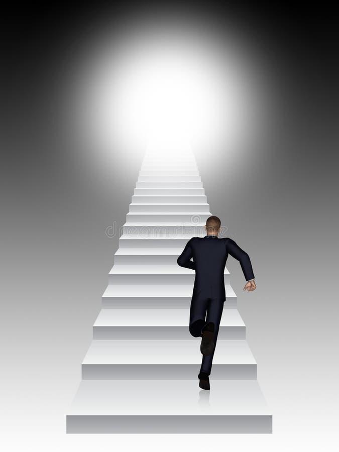 Konceptualny 3D biznesowego mężczyzna bieg lub wspinaczkowy schodek ilustracja wektor