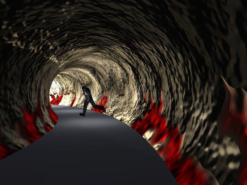 Konceptualny 3D biznesowy mężczyzna, drogowy tunel z światłem przy końcówką ilustracja wektor