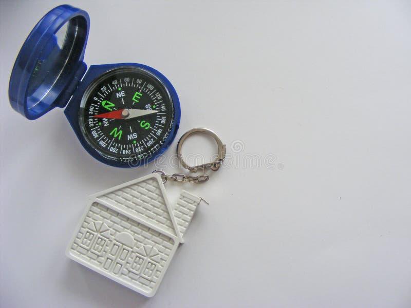 Konceptualny dom i kompas na białym tle z miejscem dla pisać zdjęcia royalty free