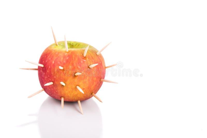 Konceptualny jabłko z cierniami denote ostrego ból gdy kąsek fotografia royalty free
