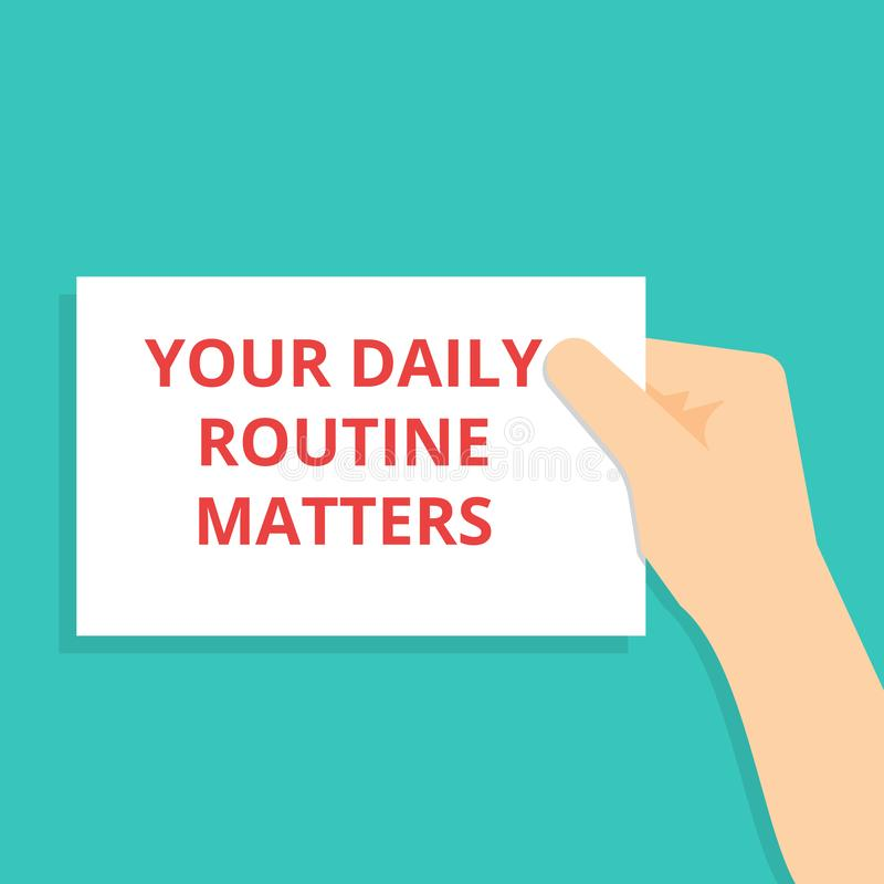 Konceptualny pisać pokazywać Twój Dzienne rutyn sprawy ilustracja wektor