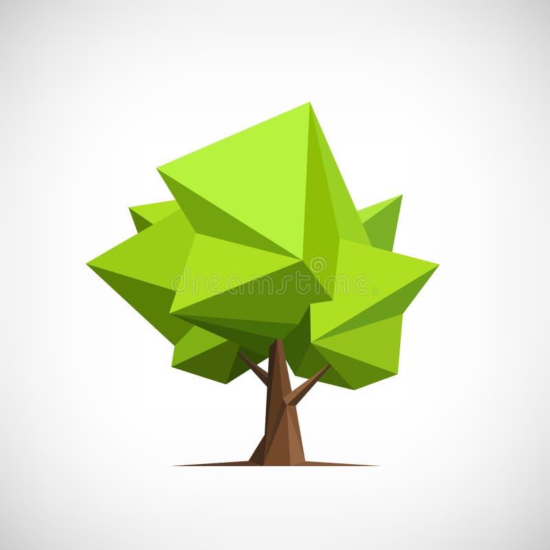 Konceptualny poligonalny drzewo Abstrakcjonistyczny wektor zdjęcie stock