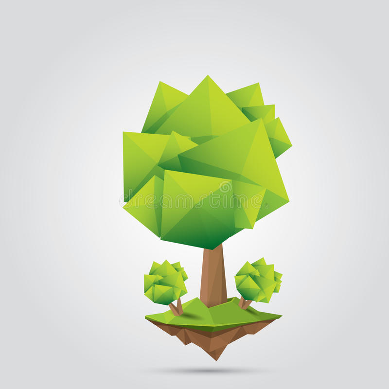 Konceptualny poligonalny drzewo również zwrócić corel ilustracji wektora ilustracja wektor