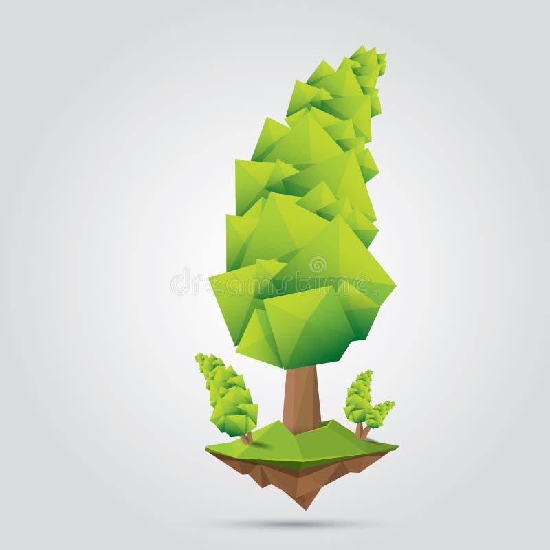 Konceptualny poligonalny drzewo również zwrócić corel ilustracji wektora ilustracji
