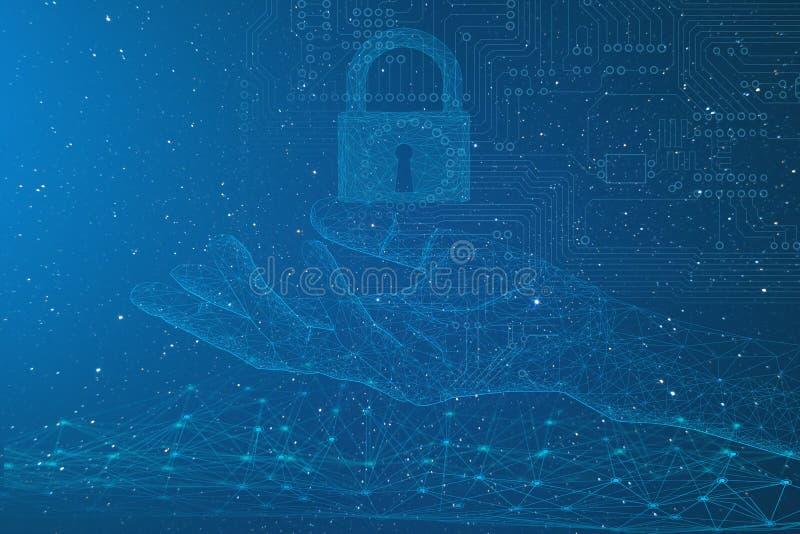 Konceptualny przedstawicielstwo ochrona informacja osobista i internet używać nowożytne technologie opierać się na develo royalty ilustracja