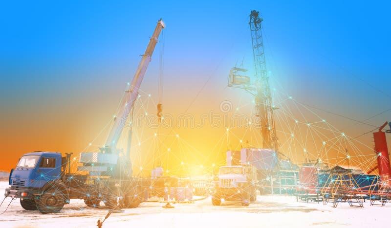 Konceptualny przedstawicielstwo przyszłościowe technologie używa sztuczna inteligencja dla przeglądu ropa i gaz dobrze, zdjęcia royalty free