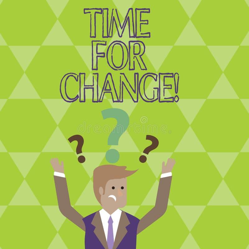 Konceptualny ręki writing pokazuje czas Dla zmiany Biznesowa fotografia pokazuje przemianę R Ulepsza transformatę Rozwija ilustracja wektor
