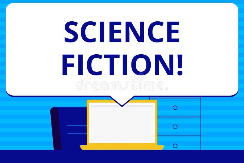 Konceptualny ręki writing pokazuje nauki fikcję Biznesowego fotografia teksta fantazji rozrywki gatunku Futurystyczny Fantastyczn royalty ilustracja