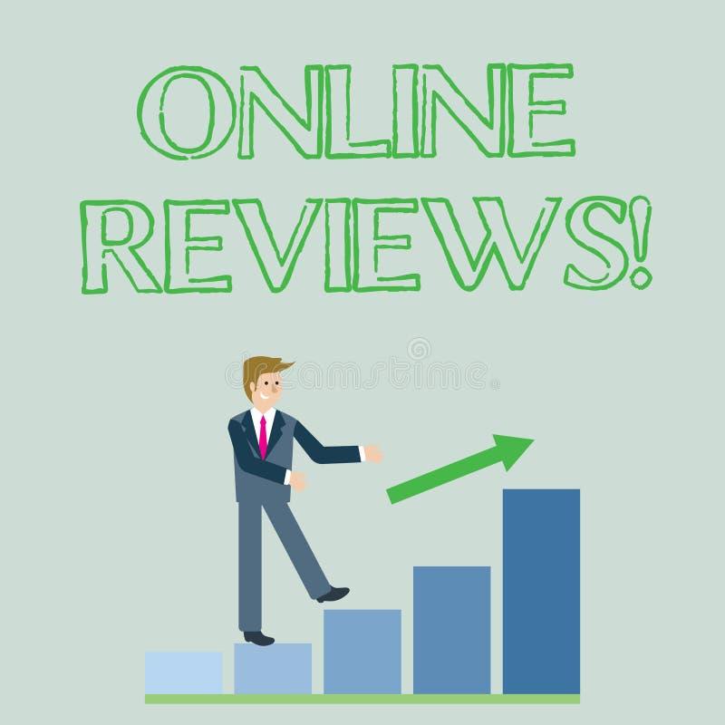 Konceptualny ręki writing pokazuje Online przeglądy Biznesowa fotografia pokazuje Internetową cenienie klienta ocenę Opiniuje royalty ilustracja