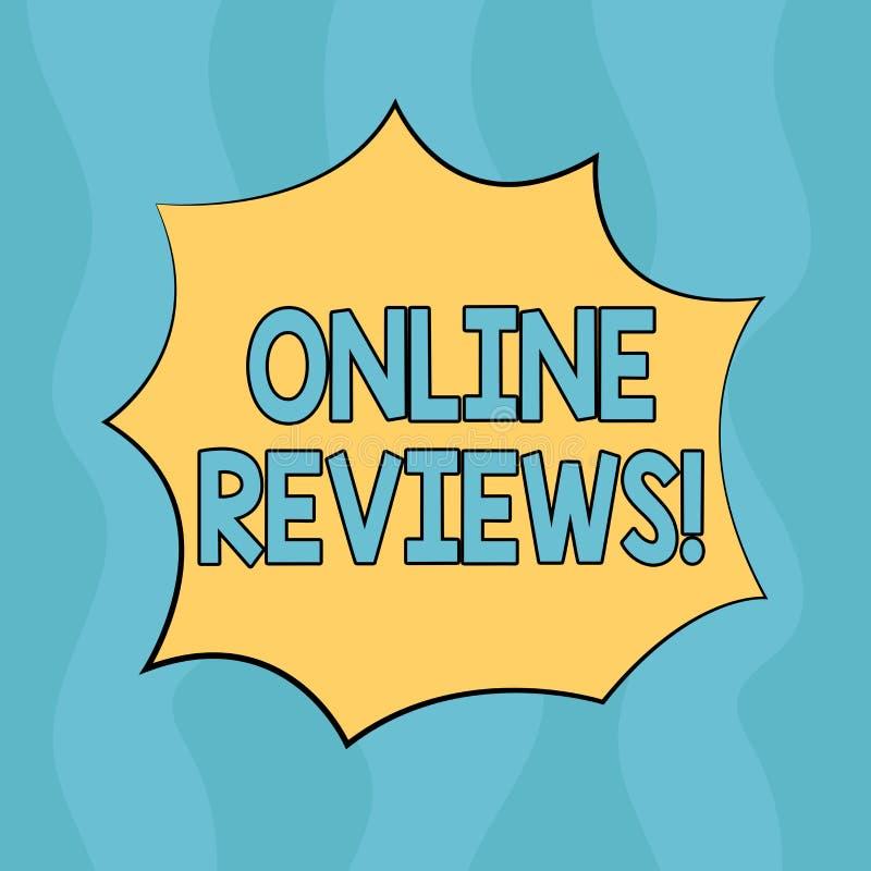 Konceptualny ręki writing pokazuje Online przeglądy Biznesowego fotografia teksta cenień klienta Internetowa ocena Opiniuje satys royalty ilustracja