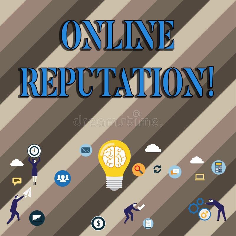 Konceptualny ręki writing pokazuje Online reputację Biznesowa fotografia pokazuje niezawodność rankingu przeglądu cenienie ilustracji