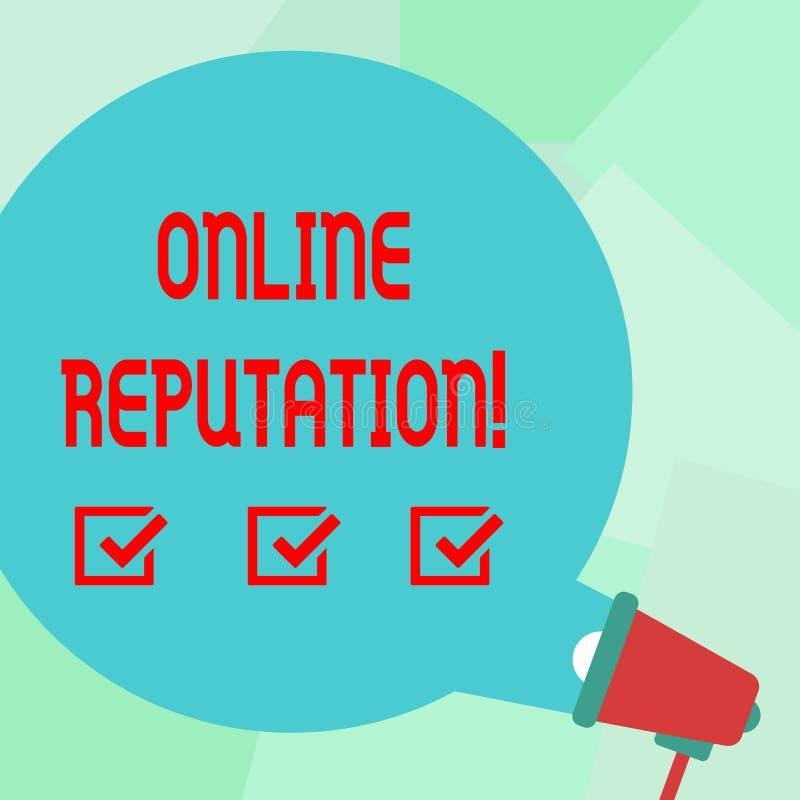 Konceptualny ręki writing pokazuje Online reputację Biznesowego fotografia teksta niezawodności rankingu przeglądu satysfakci Sza ilustracja wektor