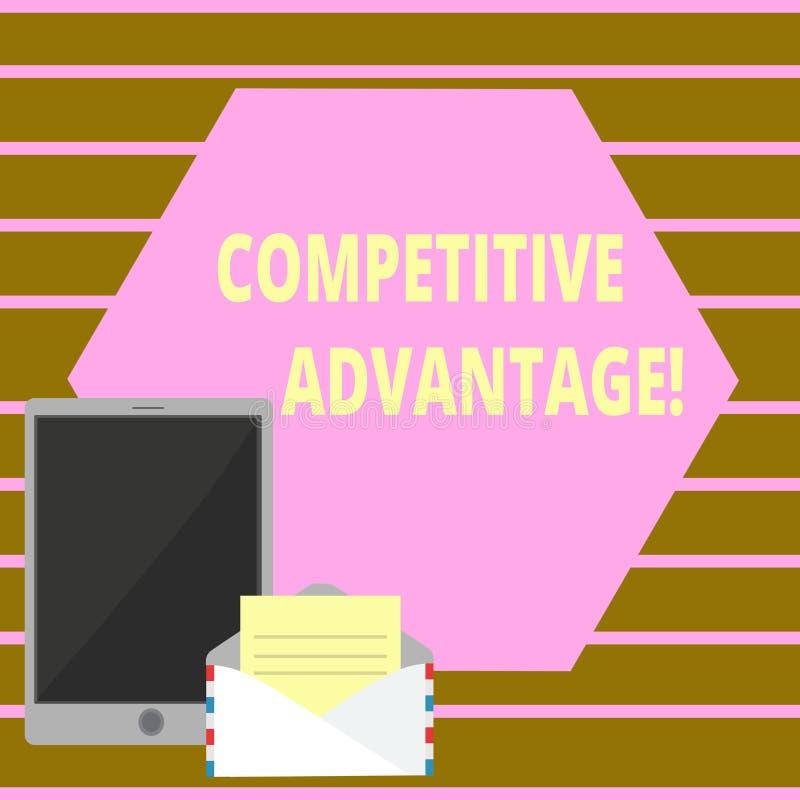 Konceptualny ręki writing pokazuje przewagę konkurencyjną Biznesowy fotografia tekst posiada ilość która gwarantuje ciebie prowad royalty ilustracja