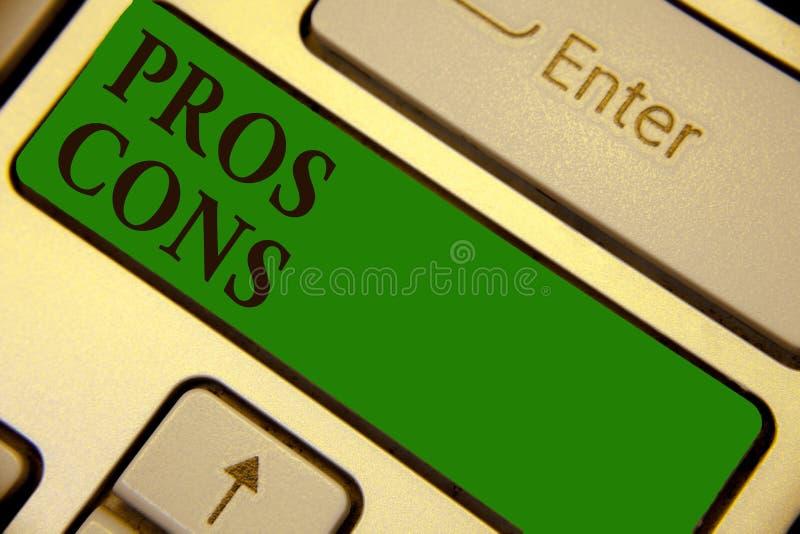 Konceptualny ręki writing pokazuje argument za Kantuje Biznesowy fotografia tekst korzystnie, nieprzychylni czynniki lub zdjęcia stock