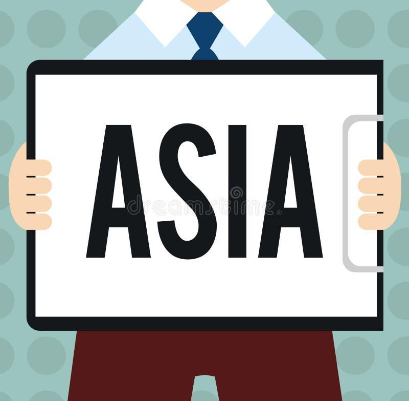 Konceptualny ręki writing pokazuje Azja Biznesowy fotografia tekst Wielki, ludny kontynent Wschodni i północna półkula ilustracja wektor